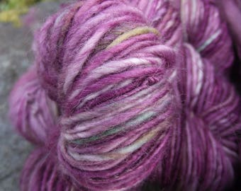 Handspun yarn, Hand dyed Single Ply Yarn, thick and thin worsted  BFL wool, multiple skeins available-Rosebud