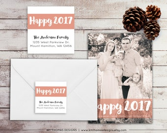 New Years Return Address Label: Square Label - Holiday Return Address Label - Christmas Label - Happy 2017 Sticker - WH162