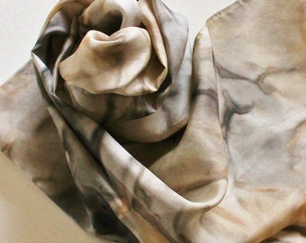 Silk Infinity Scarf - Hand Painted Circle Scarves Black Brown Gray Grey Tan Cream Taupe Beige Neutral