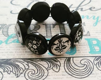 Black Adjustable Stretch Bracelet Retro, Black Bracelet, Expandable Stretch, Black Round Bracelet