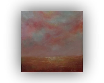 Abstract Landscape Oil Painting on Canvas- Fall Field Sky and Clouds- Small 12 x 12 Mauve Yellow and Blue Palette Knife Art