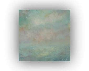 Small Abstract Oil Painting- 12 x 12 Green Blue and Pink Spring Sky and Field Landscape- Original Palette Knife Art on Canvas