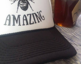 Bee Amazing/ trucker hat/ bee/ bee keeping/ bee happy/ black and white/ baseball hat/ unisex/ inspirational gift/survivor/ you can do it