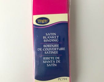 Wrights Satin Blanket Binding - Hot Pink - Bright Pink - 4.75 Yards - Binding for Sewing - Brand New - NIP - Ships Quick
