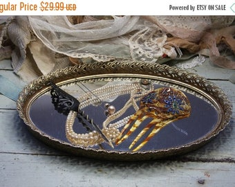 ON SALE Vintage Romantic Gold tone MIRROR Tray- Oval Shaped Mirrored Jewelry Organizer- Vanity Tray- Keepsake Display- G21