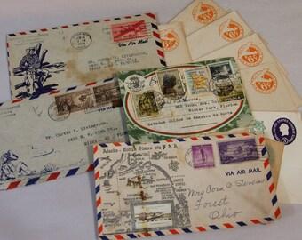 Vintage AIR MAIL Envelopes- 1940's & 1950's- Hawaii Alaska Embossed Silver Cowboy Southwest Illustrated Envelopes