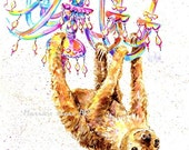 Sloth print, Chandelier, Party animal, two toed Sloth, Funny sloth art, Marias Ideas