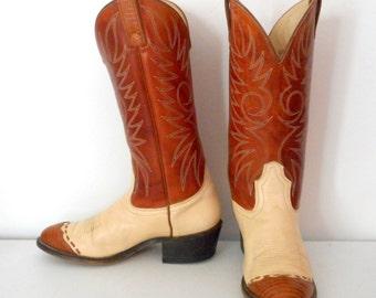 Vintage Acme Cowboy Boots Mens Size 6.5 D Tan Cream Western Classic Urban Shoes