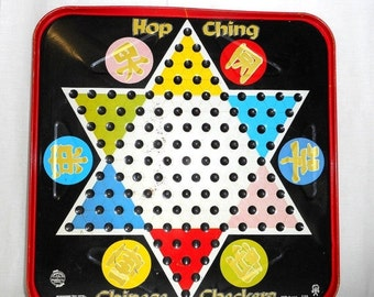 Vintage Hop Ching Chinese Checkers Tin Game Board Star Black Red Family Home Decor