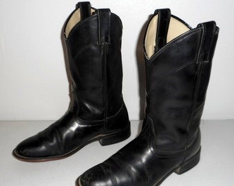 Womens 8 M Cowboy Boots Laredo Black Ropers Cowgirl Western Boho Indie Shoes
