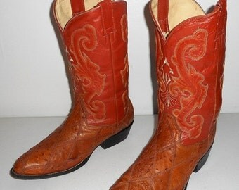 Mens 8.5 Cowboy Boots Ostrich Patchwork Tan Orange Vintage Womens 10 Shoes