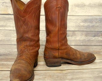 Grungy Tony Lama Cowboy Boots Distressed Mens 10.5 B Narrow Brown Leather Western