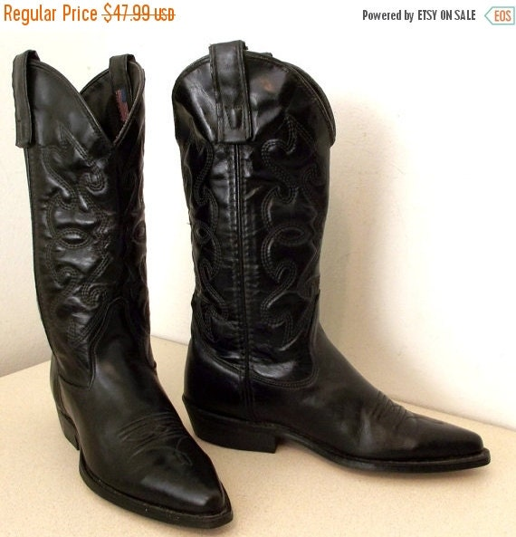 ON SALE Black on black leather western fashion cowgirl boots Capezio brand