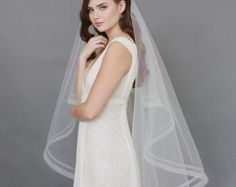 Double Horsehair Veil, Organza Ribbon Veil, Bridal Veil, Wedding Veil, Drop Bridal Veil, Finger Tip Veil, Tulle Ivory Veil 1722