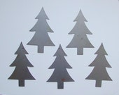 "5 RUSTY 5.5"" Metal TREES Ornament Craft Stencil Pattern Woodland Christmas Prim Sunbaked Rustic Mountain Cabin Decor (MR5)"