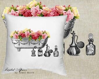 Digital Download Tea Room Collection Vintage Old Bath Tub Roses Black & White Image For Papercrafts, Transfer, Pillows, Totes, Etc va35