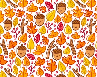 Woodland Acorns Fabric - Autumn Pattern By Stolenpencil- Kawaii Kids Fall Foliage Orange an Brown Cotton Fabric By The Yard With Spoonflower