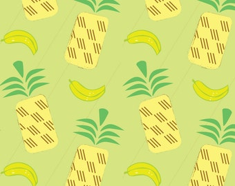 Pineapple + Bananas Fabric - Pineapple Banana By Pixabo - Summer Tropical Pineapple and Banana Cotton Fabric By The Yard With Spoonflower