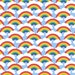 Kids Rainbow Fabric - Small Circle Rainbow - Blue Skies By Weavingmajor - Rainbow and Couds Cotton Fabric By The Yard With Spoonflower