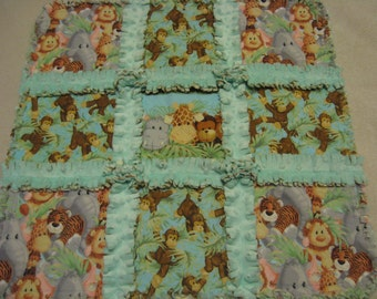 Jungle Baby Animal Rag Security Lovey Baby Girl or Boy Small Rag Quilt Blanket Security Lovey Minky Backing Valentine gift Car Seat Quilt