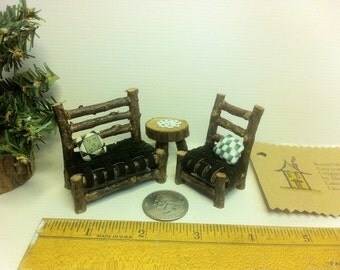 Half Inch Scale Set Rustic Miniature Dollhouse Furniture Log Cabin 6 pieces: Living room set Settee Chair Table Tatted Doily Woodland Fairy