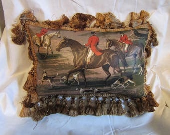 Handmade ENGLISH FOXHUNT Large Horse Pillow w/Dark Gold Tassel Trim Quality Upholstery Brown Tones Fabric
