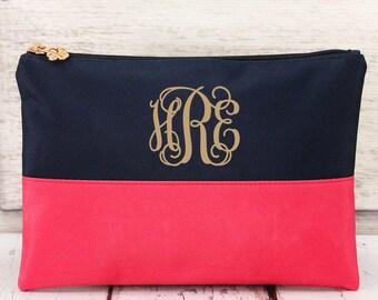 Navy and Pink Color block  cosmetic bag , bridesmaid make-up bags, monogrammed bag, wedding bag , bridesmaid gifts