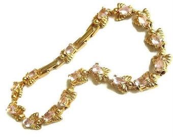 Rhinestone Angels Link Bracelet by AVON Vintage Pink Tear Drop