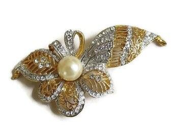 Pave Rhinestones Flower Brooch Faux Pearl Vintage