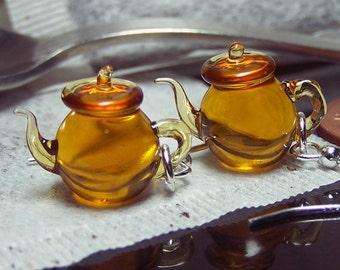 Amber Yellow Tea Tiny Teapots - Glass Dangling Earrings SRA