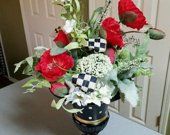 Mac Kenzie Child courtly check ribbon in my custom painted floral arrangement
