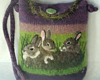 Felted Purse,felted tote, bunny art, needle felt rabbit