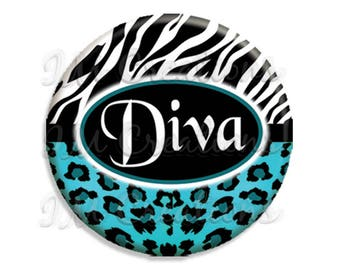 "Diva Animal Print Pocket Mirror, Magnet or Pinback Button - Favors - 2.25""- MR118"
