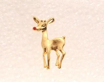 Christmas Reindeer Tac Pin Brooch Vintage Gold Rudolph Reindeer Figural Pin