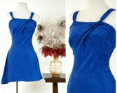 Vintage 1930s Bathing Suit - Bright Royal Blue Blue Rayon Ribbed Terrycloth 30s Lastex Stretch Swimsuit with Skirt and Jantzen Girl