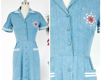 1930s Vintage Dress - Summer Lookbook 2017 - The Fregate Island Dress - Chambray Denim Nautical Early 40s Day Dress with Embroidered Pocket