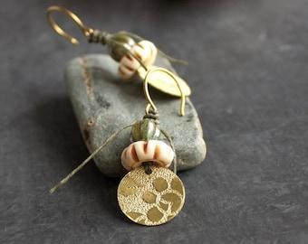 ON SALE Etched Gold Brass Floral Dangle Drop Earrings Rustic Sage Green Cream Bone Tribal Boho Metalwork Linen Fiber Jewellery