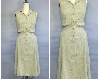 olive green linen button up dress