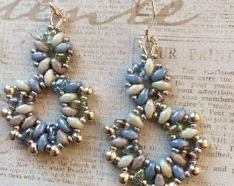 Beachy Blue Beaded Earrings