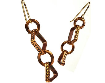 Geometric copper hoop handmade dangle earrings