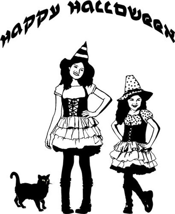 """little witches girls black cat png clipart black line art digital stamp image Download halloween graphics wall art printable  18"""" x 10"""""""