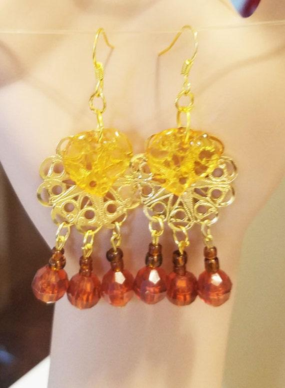 gold leaf brown drop chandelier earrings charms metal plastic glass beads jewelry handmade original designs