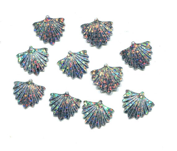 hologram fan sequins embellishments 20mm scrapbooking silver jewelry making crafts supplies