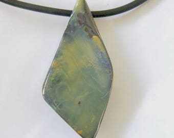 Opal Necklace, Drilled Boulder Opal on Black Rubber Cord - Item 2703132