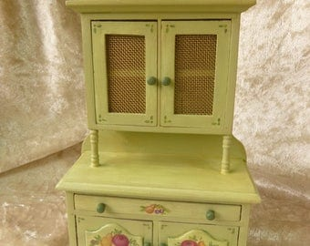 Dollhouse miniature hand-painted  green cupboard in 12th  scale cottage style with brass net doors