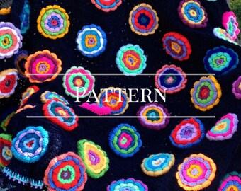 Crochet Granny Square Flower garden Afghan