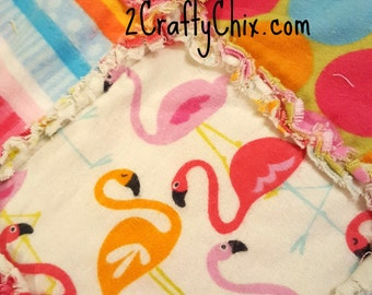 Flamingo Flannel Rag Edge Quilt 30in by 40in Handmade for Babies, Toddlers and Kids