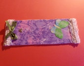 1 Bookmark handmade made from matt board, with fabric and embellished them mailed to you