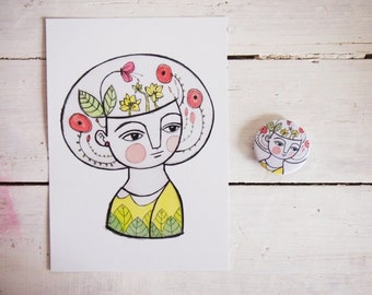 SET, flower girl postcard + brooch
