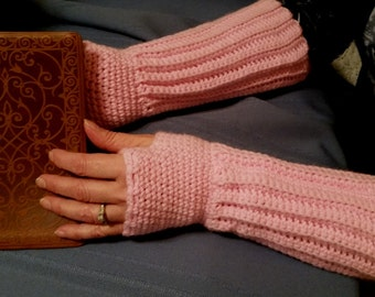 Pink Arm Warmers Texting Gloves Fingerless Gloves